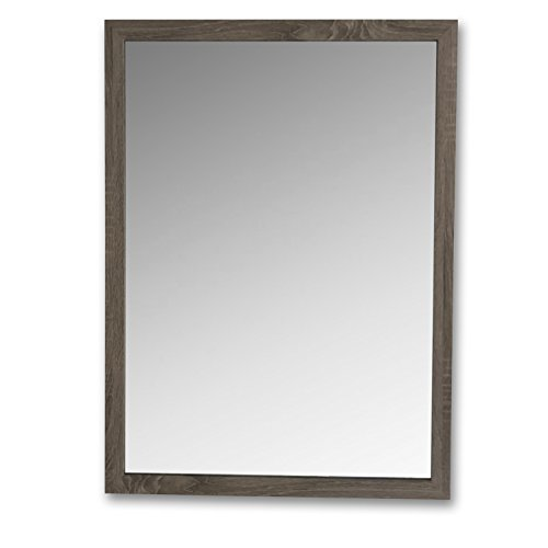 Whole House Worlds The Tribeca Rustic Driftwood Gray Framed Mirror, Hand Crafted, Sturdy Wood, Rectangle, Brilliant Glass, Slim Profile, 29 ½ H x 21 ¾ W x ½ D Inches. (Carved Wood Frame Mirror)