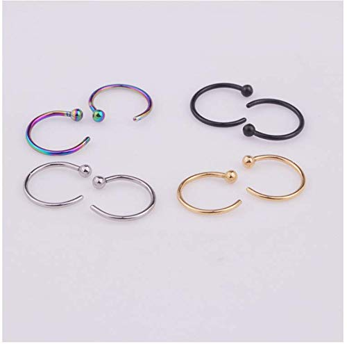 (YAYAYOUYOU Stainless Steel Semi-Circular Nose Ring Classic Fashion Spherical C-Shaped Nose Nails Studs Universal Puncture Jewelry)