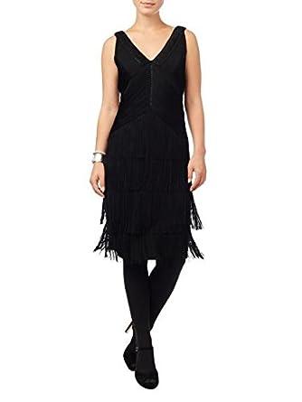 Phase Eight Ona Black Fringed Dress Uk Size 8 New Amazon