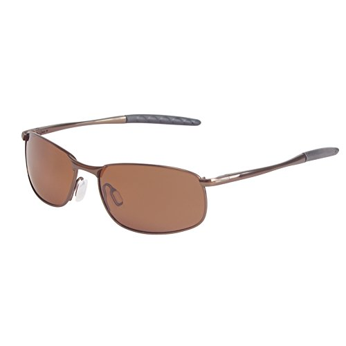 ZHILE 8-base Curve Wrap Metal Frame Polarized Sunglasses for Men (Brown frame Brown lens, 57) (Polarized 57 Sunglasses Brown)