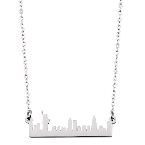 KUIYAI City Skyline Necklace Dainty Architectural Jewelry (New York Silver)