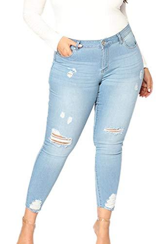 Le Donne Taglia Alta Chiarocolor Blu Magre Jeans Yacun Strappati qPwUWZgPB