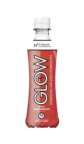 GLOW Beverages Premium Sparkling Infused Hydration Drink - 12 Pack 10.8oz Plastic - Spicy Watermelon - Vitamins & Antioxidants
