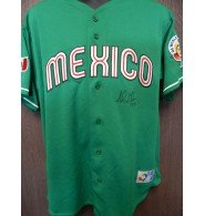 2006 Jersey (Signed Gonzalez, Adrian 2006 World Baseball Classic Team Mexico Replica Jersey Size Large autographed)