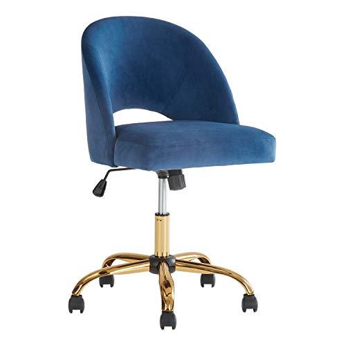 Stylish Armless Navy Velvet Modern Swivel Desk Office Chair