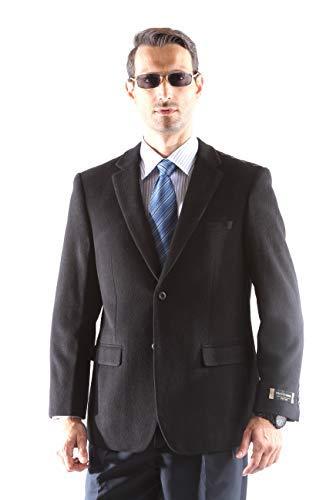 (Prontomoda Men's 2 Button Luxury Wool Cashmere Black Sport Coat 46R )