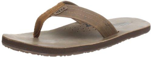 Reef Men's Leather Sandals Draftsmen   Bottle Opener Flip Flops For Men With Soft Cushion Footbed, Bronze Brown, 9
