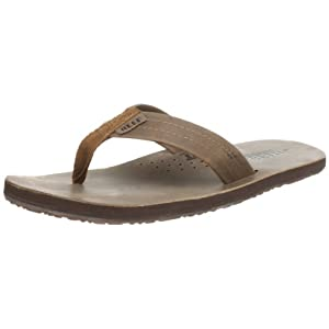 Reef Mens Leather Sandals Draftsmen | Bottle Opener Flip Flops For Men With Soft Cushion Footbed