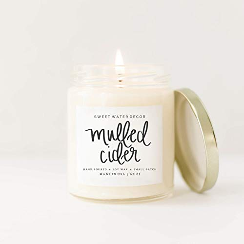 Mulled Cider Natural Soy Wax Candle | Orange Cedarwood Lemon Cinnamon Cranberry Apple Essential Oils Fall Winter Christmas Scent Lead Free Cotton Wick Made in USA Country Fall Rustic Farmhouse ()