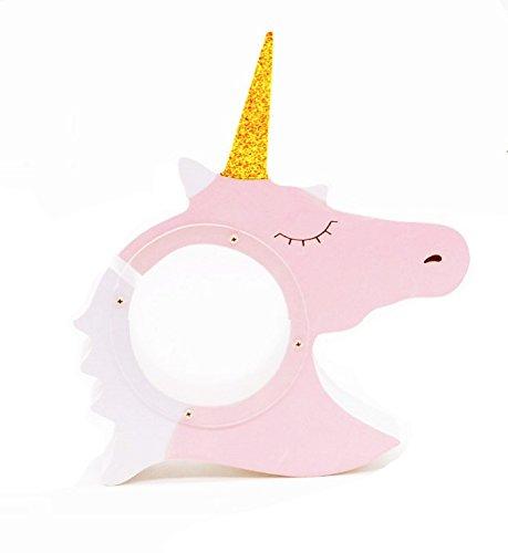 Hoocozi Wood Unicorn Coin Money Bank, Home Decor Horse Like One-Sided Money Saving Holder from, 1Pce, Pink,9