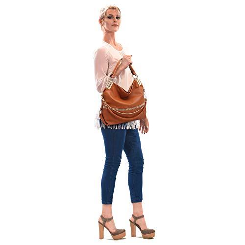 Bag Shoulder Brown Purse Chain Bag Hobo Handle Women��s Large Rhinestone Classic Dasein Top x0nPqH87Aw