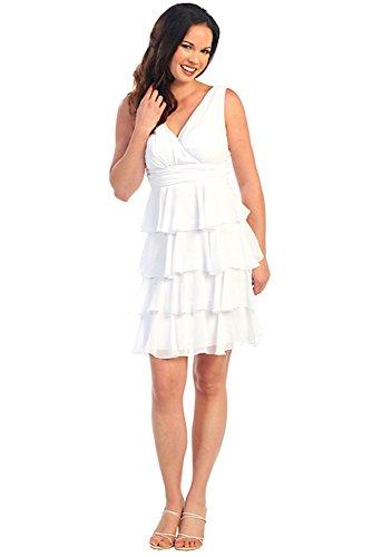 Festkleid Chiffon Knielang Volantkleid V Brautkleid Nachtigall Cocktailkleid Ausschnitt Jugendlich Lerche Kurz Sommerkleid Weiß Damenkleid Standesamtkleid Minikleid 16684RwPq
