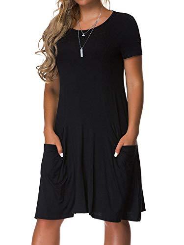 VERABENDI Women's Plus Size Short Sleeve Dress Casual Loose Pocket T-Shirt Dress Black 2XL ()