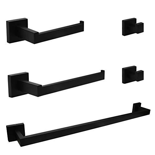 Ralbay Bath Towel Bar, Premium Stainless Steel 5 Pieces Bathroom Hardware Accessories Set Wall Mounted Towel Bar Set…