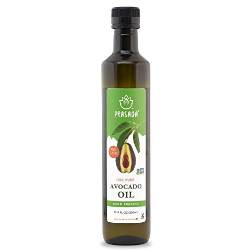 Prasada 100% Pure Avocado Oil 16.9oz (500ml) -Refined, Cold Pressed, BPA-Free Food-Grade Plastic Bottle | Excellent for Frying, Sautéing, Salads and Cosmetic Uses