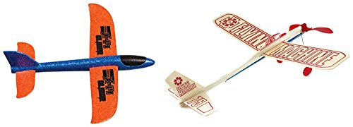 Granite Mountain Products Balsa Wood and Foam Toy Airplane Set - Guillow Rubber Band Powered Flying Machine and Duncan X-14 Foam Glider with Launcher (Set of 2 Planes)