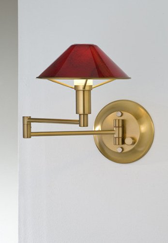 Red Halogen Sconce (Holtkoetter 9426 AB MGR Lighting for The Aging Eye Halogen Swing-Arm Wall Sconce, Antique Brass with Magma Red Glass)