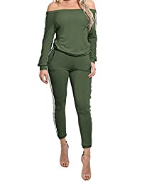 mywell Women's 2 Piece Off Shoulder Jumpsuits Bodycon Sweatsuit Set Tracksuit Outfit