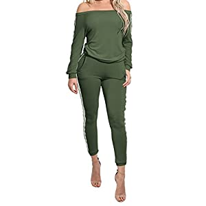 846a625f3e8f TrinhGuo Womens Off Shoulder Two Piece Tracksuit Outfits Bodycon Jumpsuits  Sweatsuit Set ...