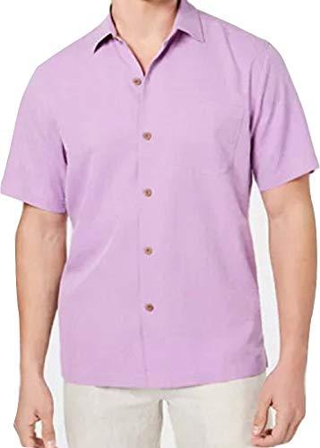 Tommy Bahama Micro Diamond Silk Camp Shirt (Color: Summer Plum, Size L)