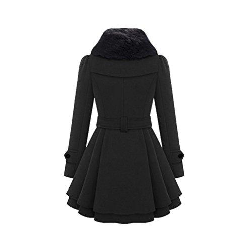 Parka Invierno Chaqueta Abrigo Cálido Largo Trenca para Mujer Trenca Negro Delgada de KaloryWee Grueso Mujer wqR8CF