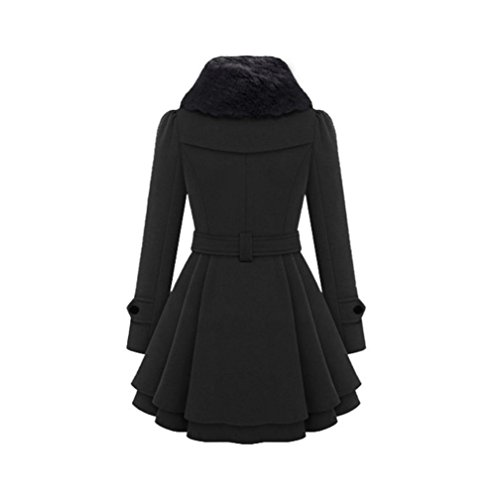 Parka Trenca Negro Largo Trenca Cálido KaloryWee Delgada para Mujer Mujer Abrigo Invierno Chaqueta de Grueso ABxqR84