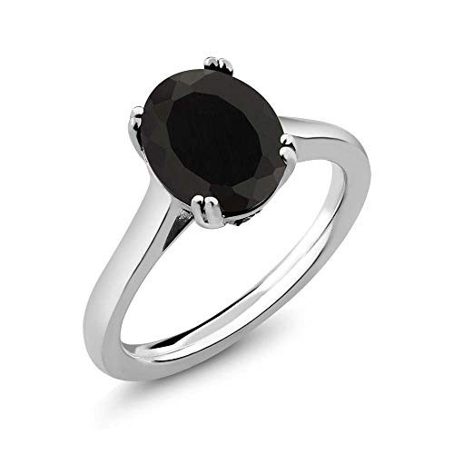 Gem Stone King 925 Sterling Silver Black Onyx and White Diamond Women's Ring (3.03 Cttw Oval, Available 5,6,7,8,9) (Size 7) (Onyx Diamond Black Ring With)