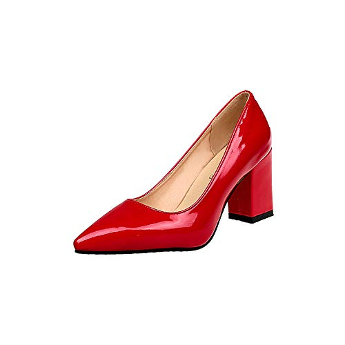 Heels Yukun Wild Fat Single Large Patent Shoes 34 Large Red Extra 43 Autumn Pointed Shoes Size High Leather High Pink 40 Work Female heels qrAyaXwrH