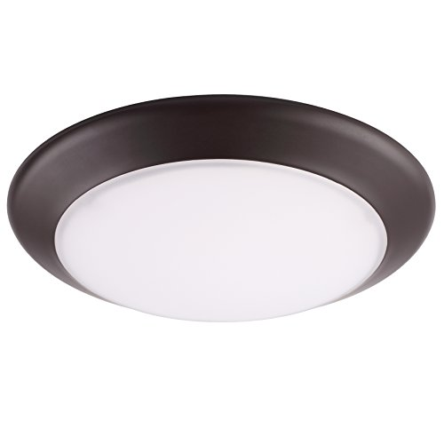 GetInLight 6 Inch LED Disk Light, Dimmable, Flush Mount or Recessed, Bright White 4000K, Matte Bronze Finish, ETL Listed, Wet Location Rated, IN-0301-3-BZ-40