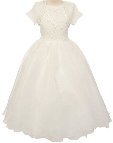 Big Girls' 2 PC Bolero Beading First Communion Wedding Flower Girl Dress Ivory 12