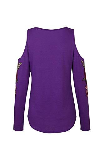 épaules Femme shirt dénudées couleur encolure T Purple à et Xxl Zhrui Taille ronde Purple 0FxEqwZ