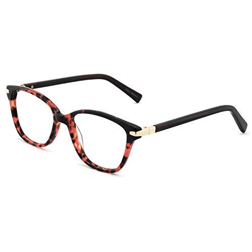 OCCI CHIARI Womens Rectangle Stylish Eyewear Frame Non-Prescription Clear Eyeglasses (C-Red Demi(Anti-Blue Light))