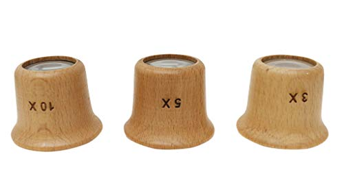 Jewelers Wood - 3 Pc. Wood Grain Jeweler's Loupes | 3x, 5x & 10x