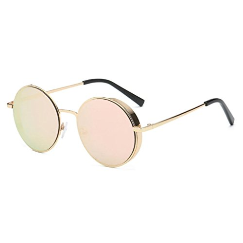Transer Simple Rounded Design Women Men Classic Metal Frame Mirror Sunglasses Eye Glasses - Sunglasses Ae