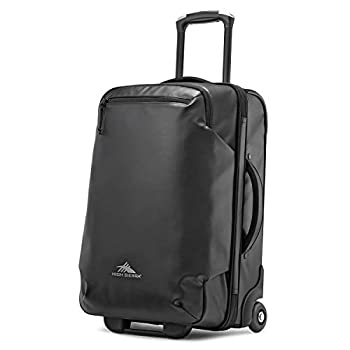Image of High Sierra Rossby 22-inch Coated Upright Wheeled Luggage Suitcase - Rolling Upright Luggage for Travel - Large Multi-compartment Luggage Suitcase with Wheels, Black Luggage