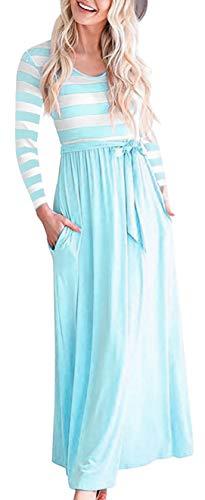 (Aqua Women Striped Long Sleeve Tunic Vintage Casual Maxi Dress with Pockets)