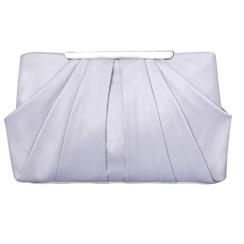 Womens Pleated Satin Evening Handbag Clutch With Detachable Chain Strap Wedding Cocktail Party Bag (Silver) ()