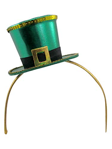 Leprechaun Head - St. Patrick's Day Leprechaun Mini Top Hat Headband, Gold Green, One Size