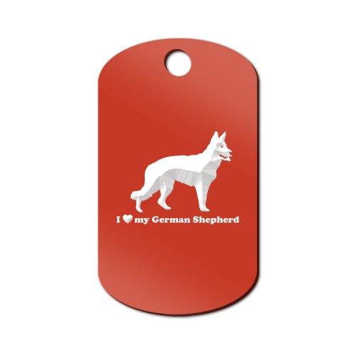 I Love My German Shepherd Engraved Keychain / GI Tag Mister Petlife Red (I Love My Dog Keychain)