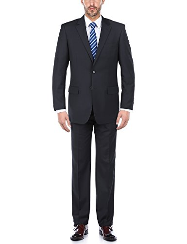 Wool 2 Button Single (Chama Men's 100% Wool Single Breasted Two Button Notch Lapel Classic Fit Suit (Navy, 42 Long/36 Waist))