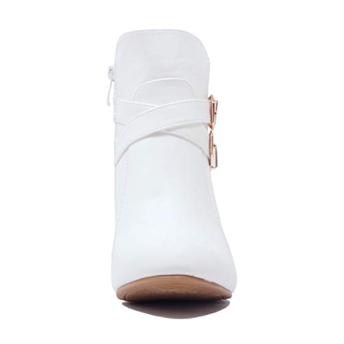 Cuneo Stivali Tacco Bianco Alto Caviglia Amman Pu Z56xaqnT