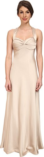 Calvin Klein Women's Crossback Satin Gown CD5B1852 Chanpaign Dress 8 (Dress Satin Calvin Klein)