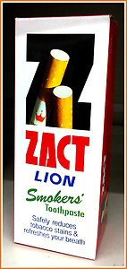 Zact lion , Toothpaste for smokers Reduce Tabacco stain , refreshing your breath , 160g per tube (5.64 Oz)
