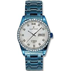 Sartego Men's SLMP37 Classic Analog Mother-Of-Pearl Face Dial Blue Swarovski Watch
