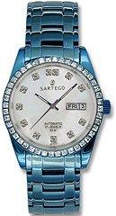 Sartego Men's SLMP37 Classic Analog Mother-Of-Pearl Face Dial Blue Swarovski Watch