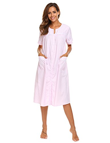 (Ekouaer Nightgown Women's Sleepwear Button-Front Plus Size Housecoat (Pink,L))