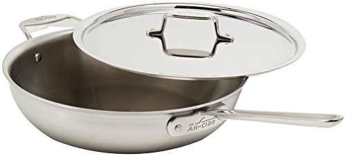 All-Clad BD55404 D5 Brushed 18/10 Stainless Steel 5-Ply Dishwasher Safe Week Night Pan Cookware, 4-Quart, Silver - 8701005202