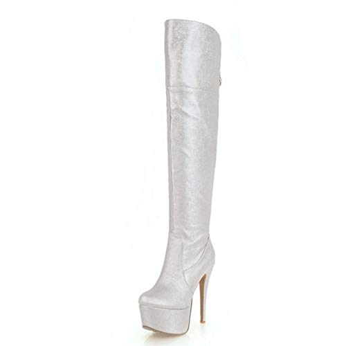 HAOLIEQUAN Plus Größe 33-48 Frauen Plattform Oberschenkel Hohe Stiefel Winter Winter Winter Warme Schuhe Frau Reißverschluss High Heel Stiefel Party Schuhe Silber 3 9c7e7a