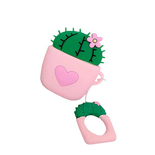 ICI-Rencontrer Creative Gardening Flower Ball Cactus Potted Plant Airpods Case Cute Heart Bonsai AirPods Accessories Wireless Charging Earphone Soft Silicone Protector Decoration Pink Heart
