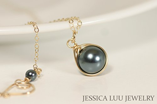 Gold Tahitian Swarovski Pearl Necklace Wire Wrapped Yellow or Rose Gold Filled